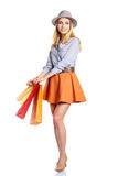Shopping woman holding bags, Stock Image