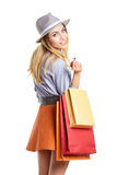 Shopping woman holding bags, Royalty Free Stock Photography