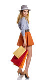Shopping woman holding bags, Royalty Free Stock Photos