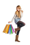 Shopping woman holding shopping bags Royalty Free Stock Photos