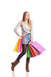 Shopping woman holding shopping bags Stock Image