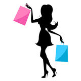 Shopping Woman Indicates Retail Sales And Buying Stock Photo