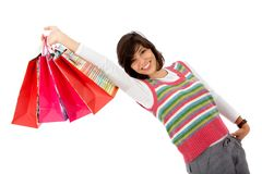 Shopping woman isolated Royalty Free Stock Photos