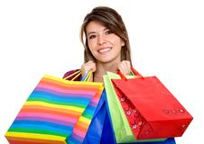 Shopping woman isolated Royalty Free Stock Images