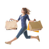 Shopping woman jumping Royalty Free Stock Photography