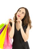 Shopping woman looking to copy space Royalty Free Stock Photo