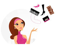Shopping woman making decision what to buy. Pretty woman in pink dress dreaming about luxury bags and shoes. Lifestyle  Illustration Royalty Free Stock Photos
