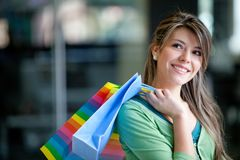 Shopping woman at a mall Royalty Free Stock Photo