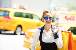 Shopping woman in Manhattan NYC stock photography