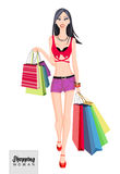 Shopping woman model. Shopping. Stock Photography