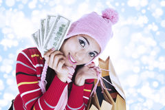 Shopping woman over defocused background Stock Image