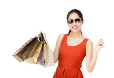 Shopping woman with paper bag Royalty Free Stock Photo