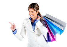 Shopping woman pointing Stock Photography