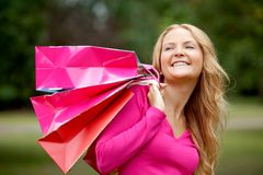 Shopping woman portrait Stock Image