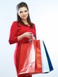 Shopping woman portrait isolated. White background. Happy shopp Royalty Free Stock Photo