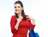 Shopping woman portrait . Shopping bags. White backgrou Royalty Free Stock Photo