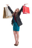 Shopping woman raising arms up in the air Royalty Free Stock Photography