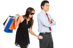 Shopping Woman Removing Money Standing Husband H Stock Photos