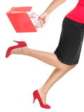 Shopping woman running holding bag Royalty Free Stock Photo