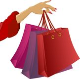 Shopping: woman's hand with bags Royalty Free Stock Photo