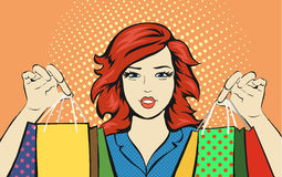 Shopping Woman with a sale bag  discounts pop art Royalty Free Stock Image