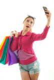 Shopping woman self photographing Royalty Free Stock Photos