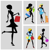 shopping woman set Royalty Free Stock Photo