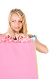 Shopping: Woman Shopper Glancing to Side Royalty Free Stock Image