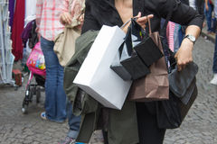 Shopping. Woman and shoppig in Paris (Montmartre), pickpockets Stock Photos