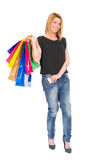 Shopping woman showing her credit or debit card Stock Photography