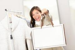 Shopping woman showing shopping bag Royalty Free Stock Photo