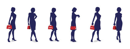Shopping woman silhouettes Royalty Free Stock Images