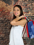 Shopping woman with smile Stock Photo