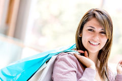 Shopping woman smiling Stock Photos