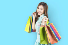 Shopping woman smiling Royalty Free Stock Photo