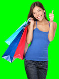 Shopping woman thumbs up success Stock Image