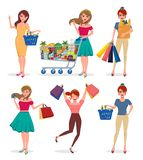 Shopping woman vector characters set. Female shopper holding shopping bags vector illustration