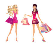 Shopping woman, vector illustration Royalty Free Stock Images