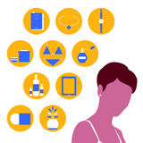 Shopping woman. Vector illustration of a young woman thinking about her shopping wishlist Stock Photos
