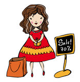 Shopping woman vector image. Vector graphic card with cute girl shopping in store Stock Image