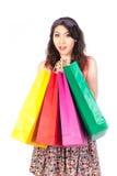 Shopping woman view on white background. Shopping woman view on the white background Royalty Free Stock Photos