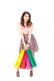 Shopping woman view on white background. Royalty Free Stock Image