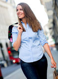 Shopping woman walking Royalty Free Stock Photo