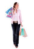 Shopping woman walking Stock Photos