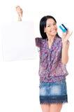 Shopping woman on white Stock Photo