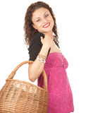Shopping woman with wicker basket Royalty Free Stock Photos