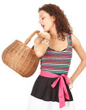 Shopping woman with wicker basket Royalty Free Stock Images