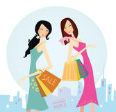 Shopping womans in the city royalty free illustration