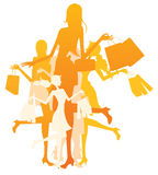 Shopping Women. An illustrated background with silhouettes of shopping women Stock Photo