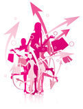 Shopping women. An illustrated background with silhouettes of shopping women Royalty Free Stock Images